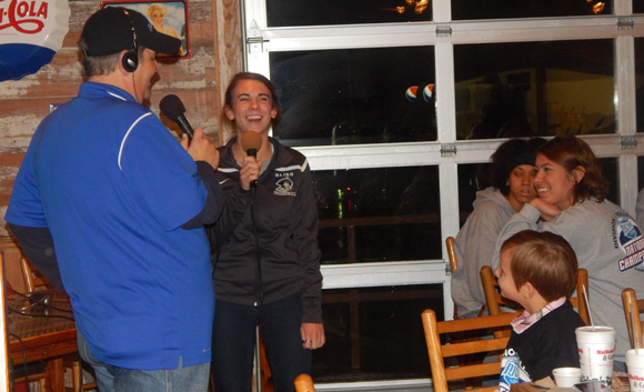 Buccaneer Libero, Alyssa LaMont has fun during her interview.