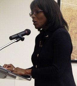 Marvalette Hunter of HuntJon LLC addresses concerns over the Belle Towers complex.