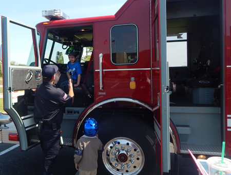 The kids loved checking out the Brenham fire truck.