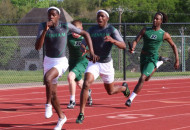Tre'Vonte Johnson takes the handoff from Ryan Nunn in the 4X100 Relay