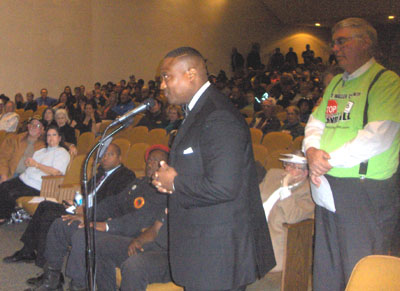 Houston activist Quanell X led a protest march in Hearne over the shooting of 93-year old Pearlie Golden.,
