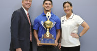 Blinn college cheerleader Anthony Antonelli won the 2014 Atkinson Cup, awarded to the sophomore student-athlete with the highest cumulative grade point average at Blinn College. Pictured, from left: Dr. Harold Nolte, Blinn district president; Antonelli; cheer coach Sarah Barland.