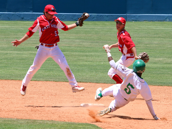 Jaquay Cross slides into second with a stolen base.