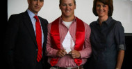Chase Wellbrock receives his Cougar Male Athlete of the Year Award