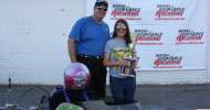 Aabella Maitland and her dad Jeff with the championship trophy.