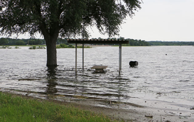 picnic site under water