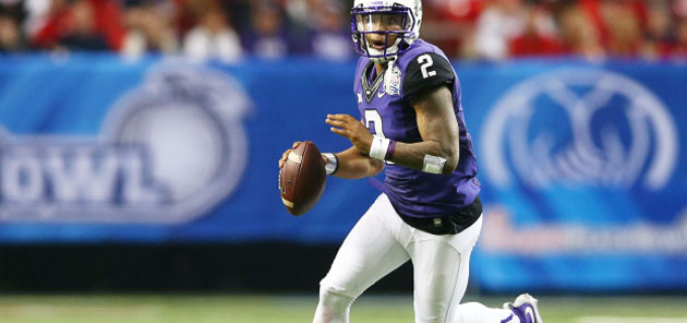 ATLANTA, GA - DECEMBER 31:  Trevone Boykin #2 of the TCU Horned Frogs scrambles against the Ole Miss Rebels during the Chik-fil-A Peach Bowl at Georgia Dome on December 31, 2014 in Atlanta, Georgia.  (Photo by Streeter Lecka/Getty Images)