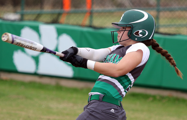 Annie Cangelosi rips a two-run homer in game  one, Saturday. (Photo: Mark Whitehead)