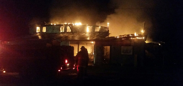 Firefighters at the scene of Wednesday night's blaze. (Prairie Hill FD - Facebook)