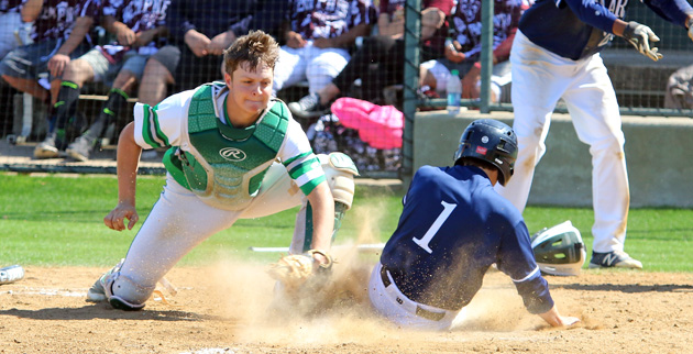 Zach Marshall tags out a Lamar runner at the plate. (Mark Whitehead)
