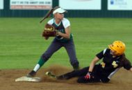 Hannah Schwartz gets an out at second base. (Mark Whitehead)