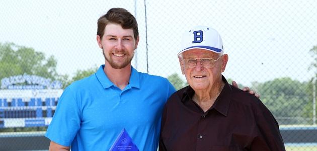 Blaine Suehs and Coach Leroy Dreyer. (Photo courtesy: Jake Gordon, Blinn Information)