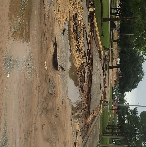 Road damage near Firemen's Park. (Tom D. Whitehead)