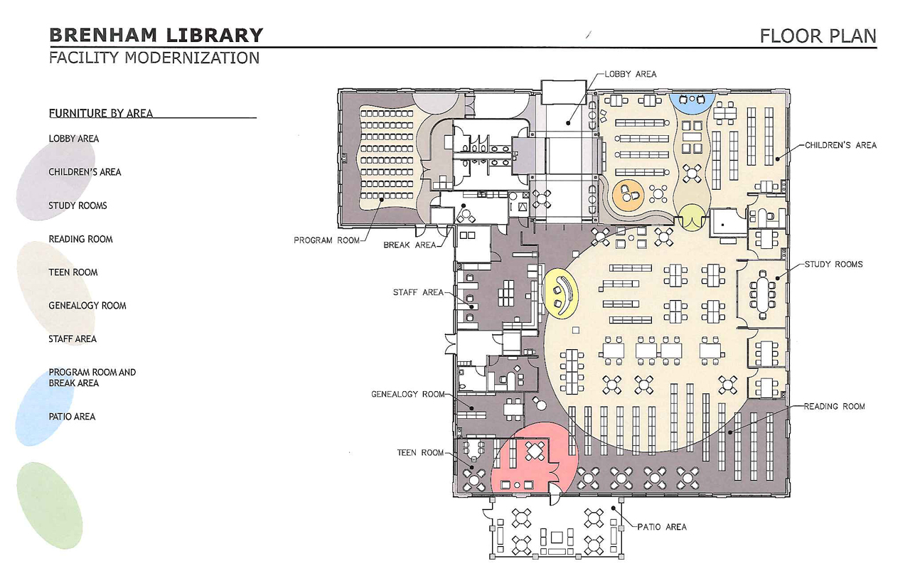 City approves purchase of furniture for remodeled library for Purchase floor plan