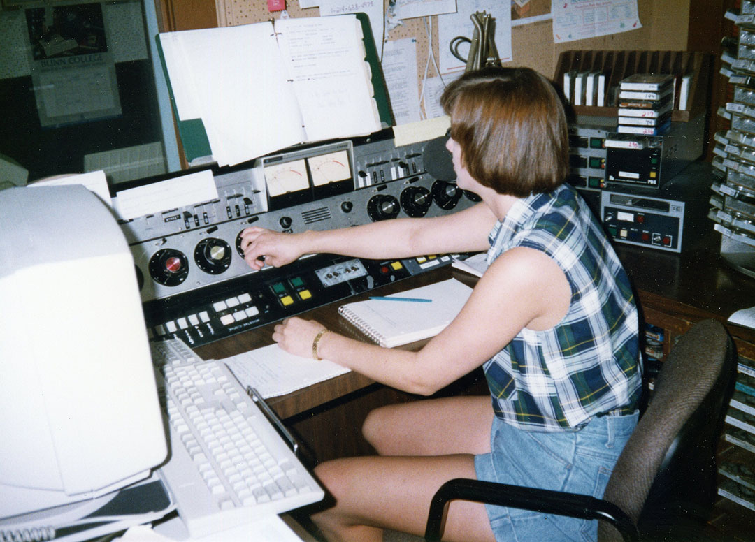 Announcer Brandie Alexander Operating The KWHI Control Board In Early 1990s