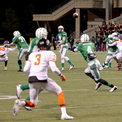 James Homan (4) caught 11 passes for 174 yards and a touchdown. (Courtesy: Larry Urquhart)