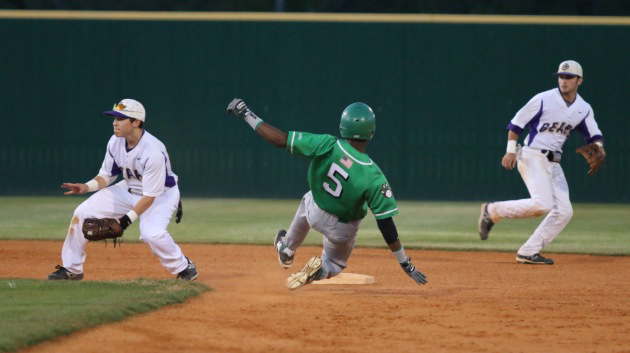 Jaquay Cross slides into second base on a Cubs' steal.