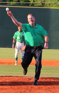 Jon Peters throws out the fist pitch Tuesday Night