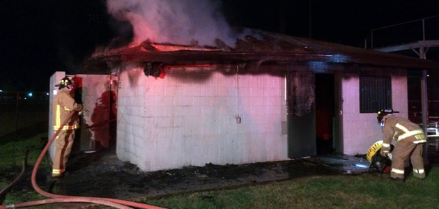 The restrooms and concessions adjacent to Henderson Park had significant damage in a suspicious fire Saturday night