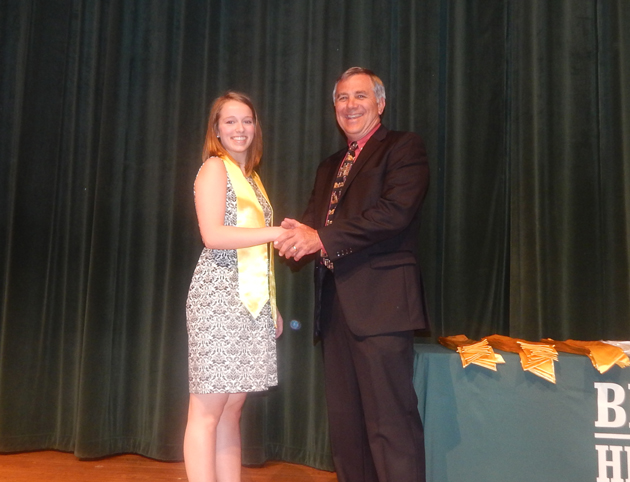 Kate Wellman, with principal Skrla hopes to study business at Texas A&M