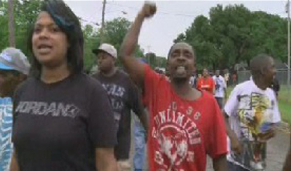 Over 150 people in Hearne protested the shooting death of a 93-year old woman. (Photo KBTX)