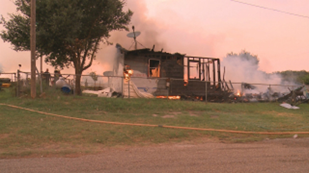 No one was injured in this house fire in Clay. Photo KBTX.