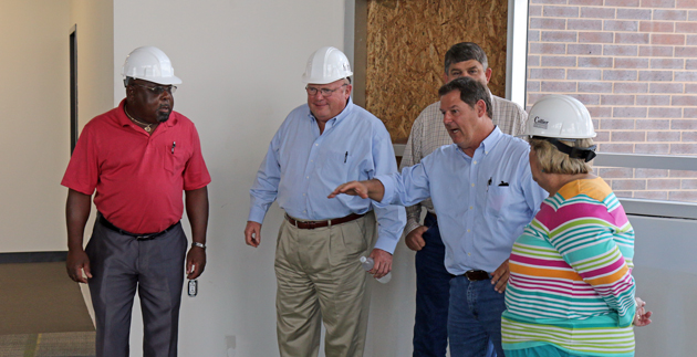 Brenham School Board members took a tour of the renovated Brenham Middle School.