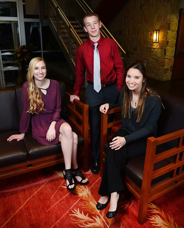Olivia Weiss (left), from Brenham, and Isabella Stasulli (right), from Paige, will represent Bluebonnet Electric Cooperative during the Government-in-Action Youth Tour in Washington, D.C. Joel Benoit (center), from Cedar Creek, was selected as an alternate and will join the tour if Weiss or Stasulli is unable to attend.