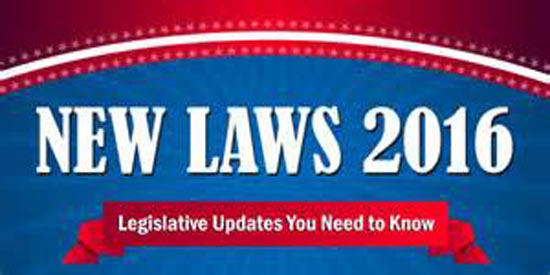 Photo of NUMEROUS NEW LAWS GOING INTO EFFECT FOR 2016