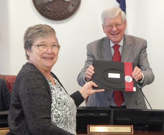 Betty Thiel, of the Nancy Carol Roberts Library, is acknowledged for her thirty years with the library