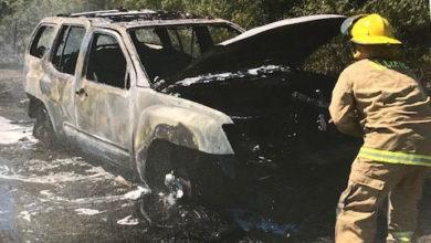 Photo of GRASS FIRE DESTROYS VEHICLE WEDNESDAY NEAR LA GRANGE